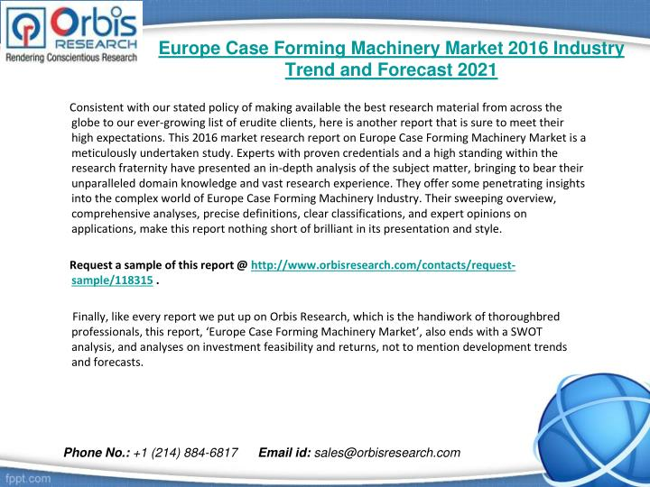 Europe case forming machinery market 2016 industry trend and forecast 20211