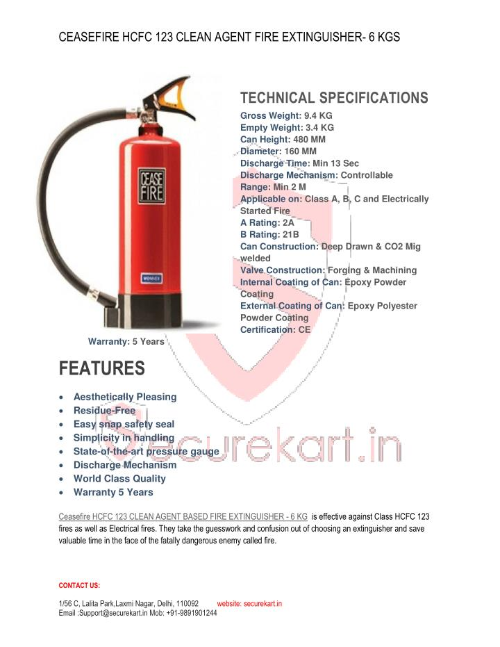 CEASEFIRE HCFC 123 CLEAN AGENT FIRE EXTINGUISHER- 6 KGS