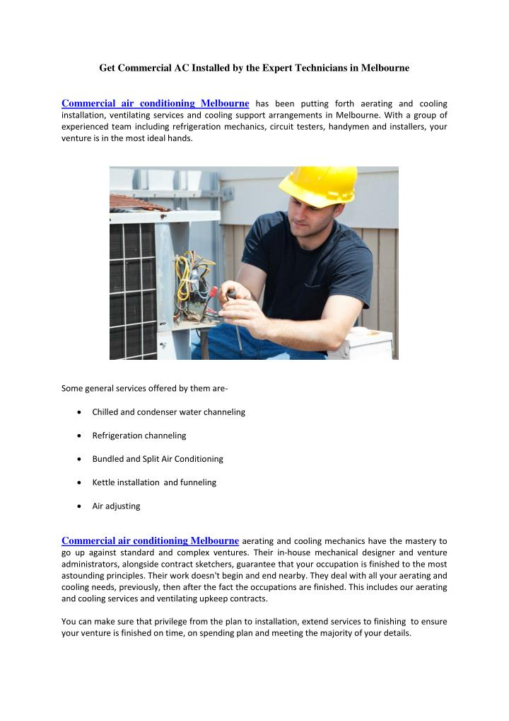 Get Commercial AC Installed by the Expert Technicians in Melbourne