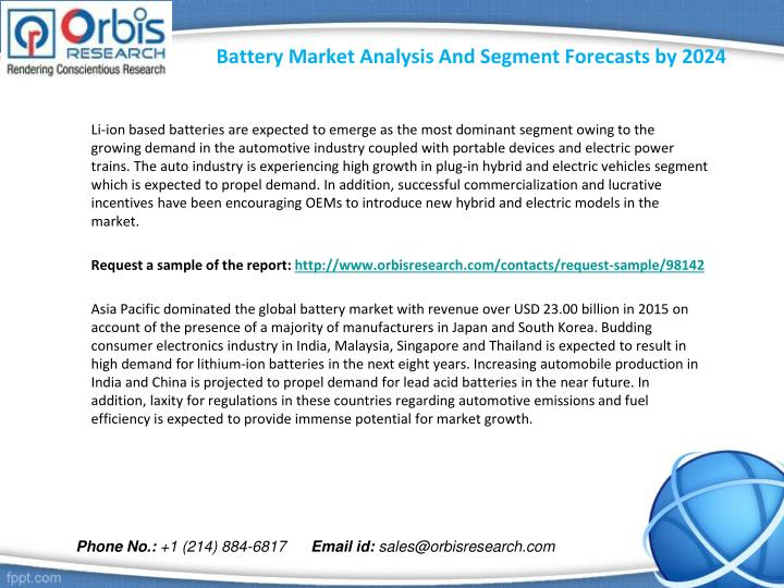 Battery market analysis and segment forecasts by 20242