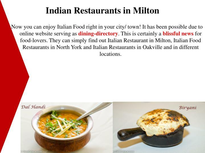 Indian Restaurants in Milton