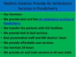 medivic aviation provide air ambulance services in pondicherry