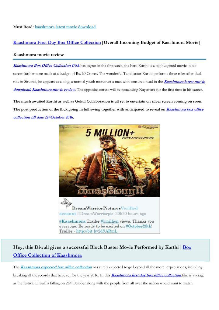 Must Read: kaashmora latest movie download