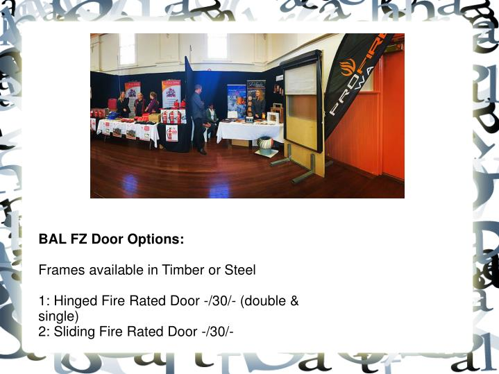 BAL FZ Door Options: