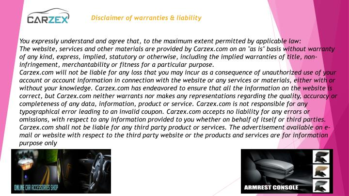 Disclaimer of warranties & liability