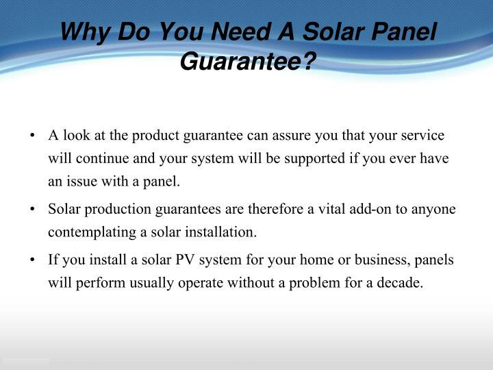 Why Do You Need A Solar Panel Guarantee?