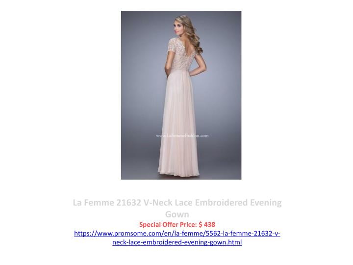 La Femme 21632 V-Neck Lace Embroidered Evening Gown