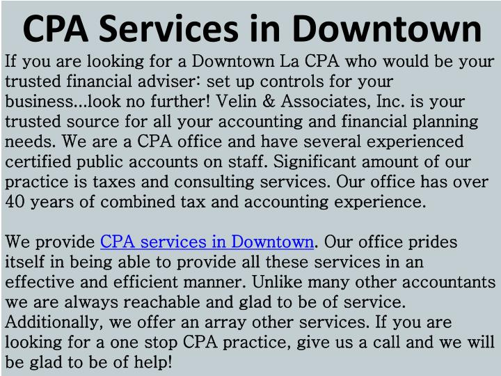 CPA Services in Downtown