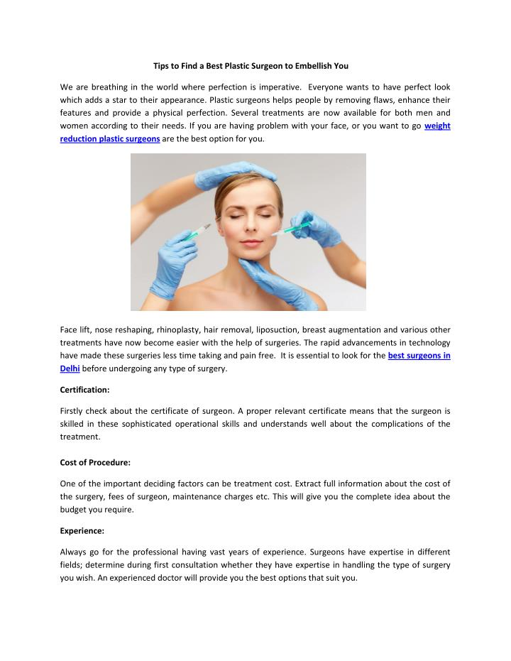 Tips to Find a Best Plastic Surgeon to Embellish You