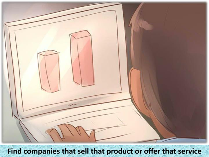 Find companies that sell that product or offer that service