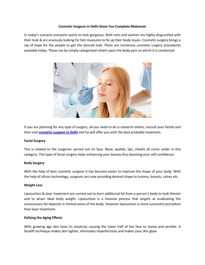Cosmetic Surgeon in Delhi Gives You Complete Makeover