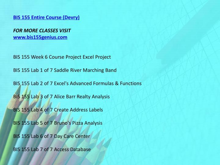 BIS 155 Entire Course (Devry)