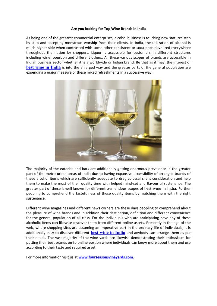 Are you looking for Top Wine Brands in India