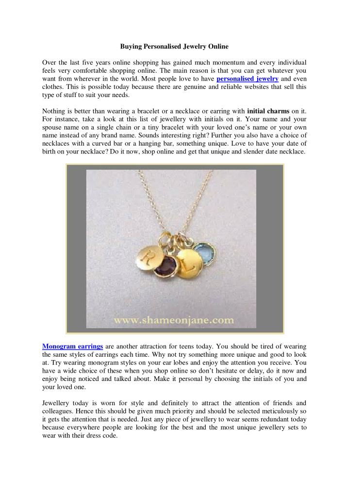 Buying Personalised Jewelry Online