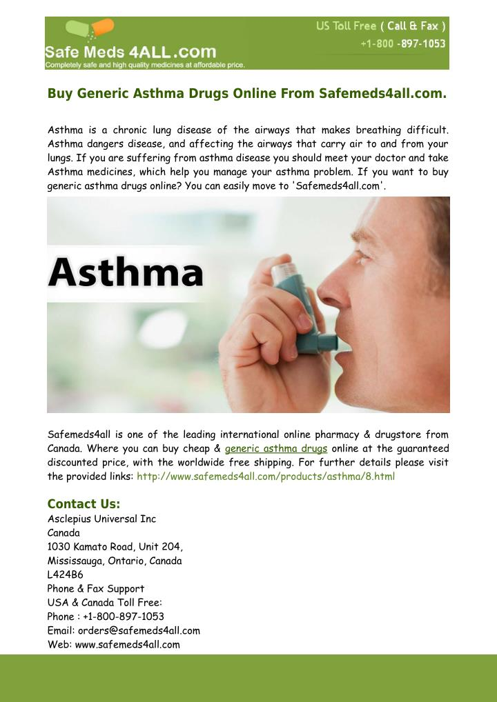 Buy Generic Asthma Drugs Online From Safemeds4all.com.