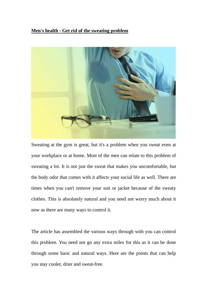 Men's health - Get rid of the sweating problem