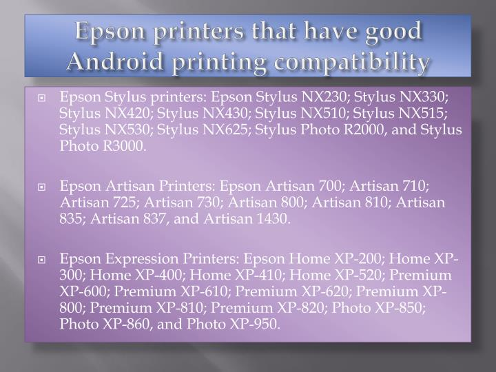 Epson printers that have good Android printing compatibility