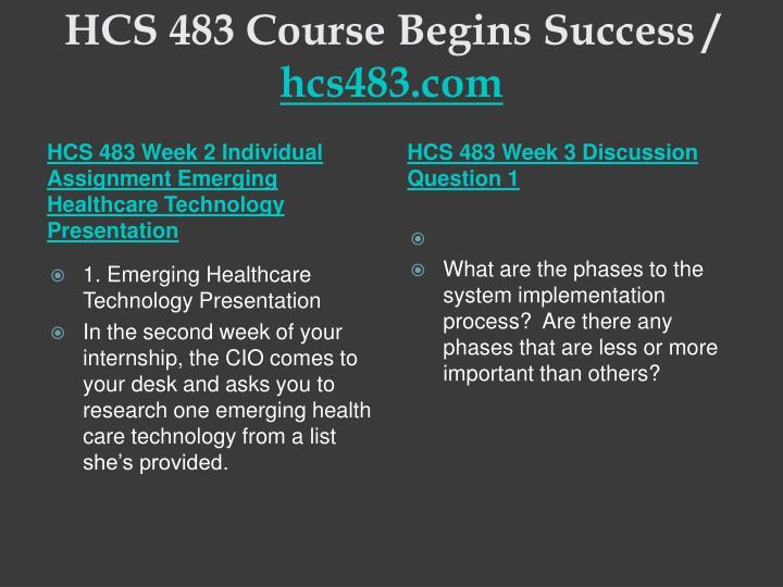 HCS 483 Course Begins Success /