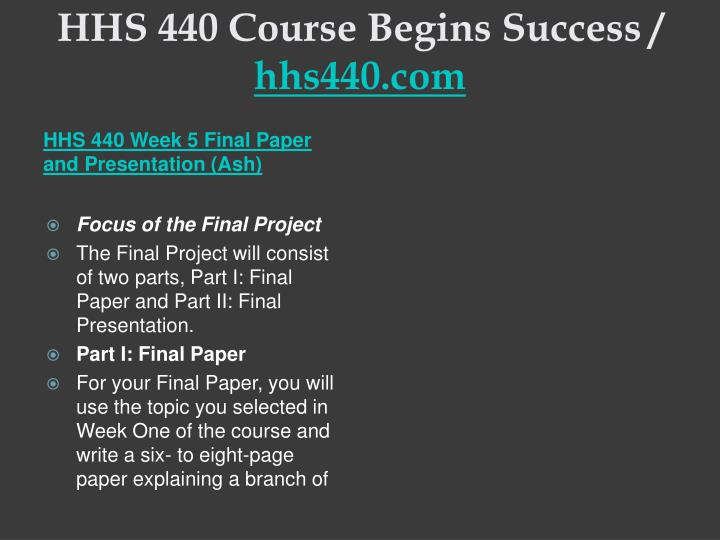 HHS 440 Course Begins Success /