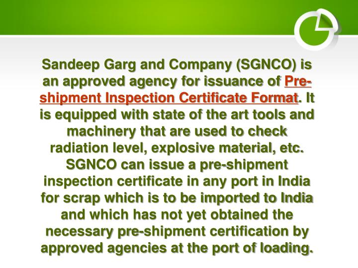 Sandeep Garg and Company (SGNCO) is an approved agency for issuance of