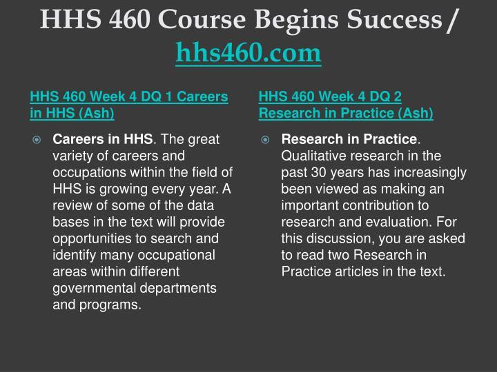HHS 460 Course Begins Success /