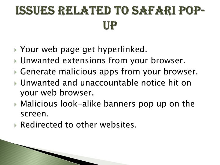 Issues related to safari pop up