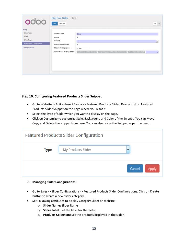 Step 10: Configuring Featured Products Slider Snippet