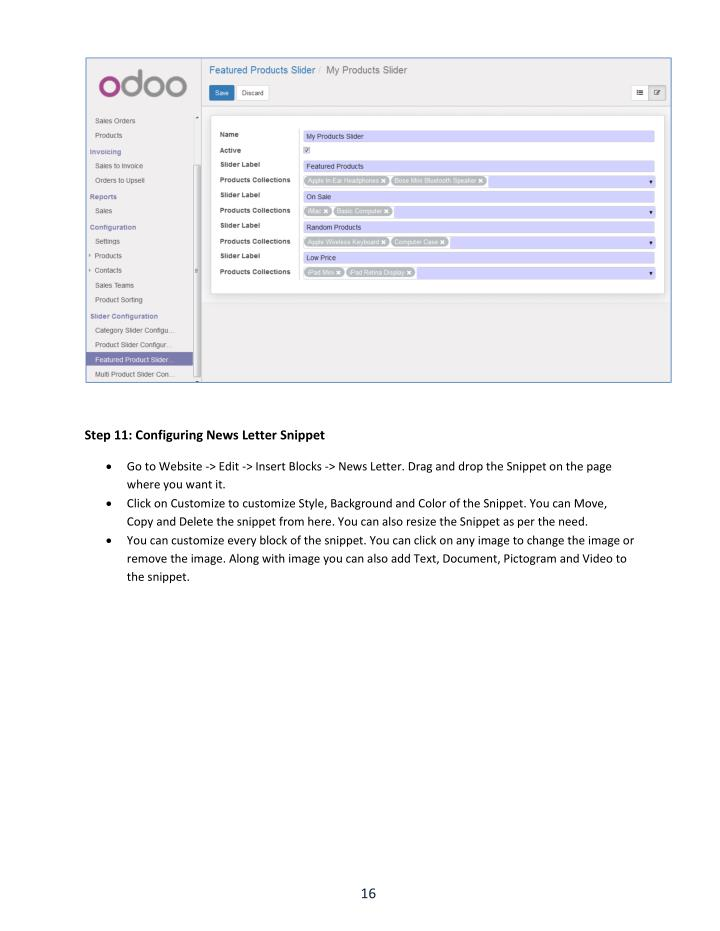 Step 11: Configuring News Letter Snippet