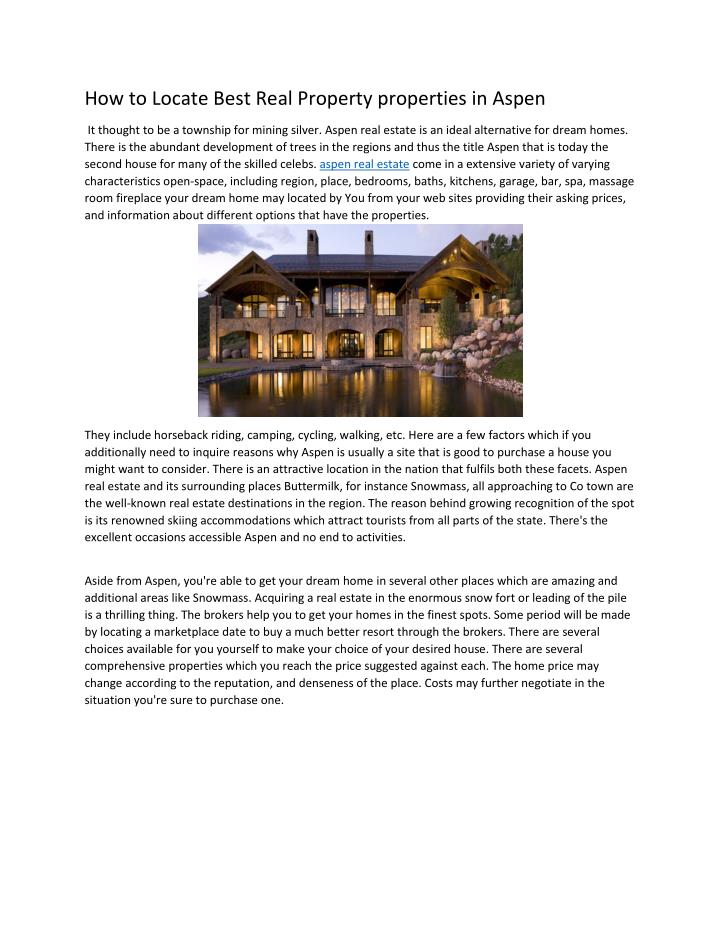 How to Locate Best Real Property properties in Aspen