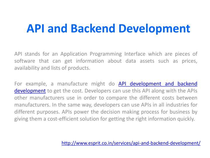 Api and backend development