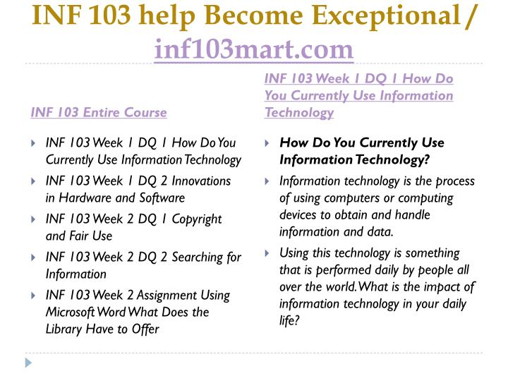 Inf 103 help become exceptional inf103mart com1