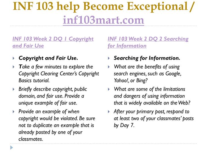 INF 103 help Become Exceptional /