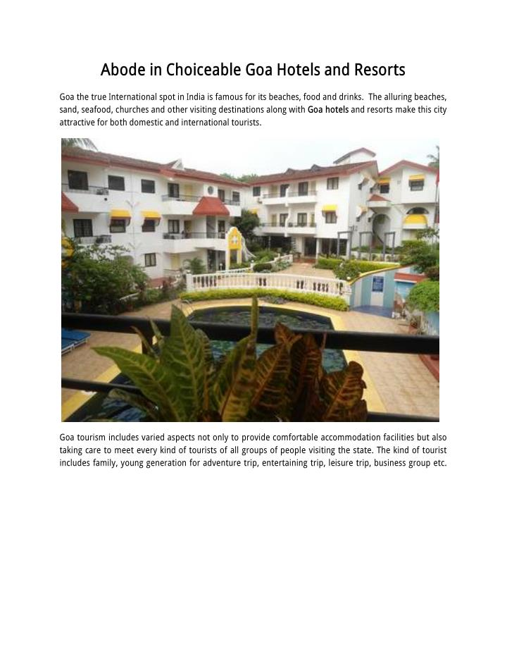 Abode in Choiceable Goa Hotels and Resorts