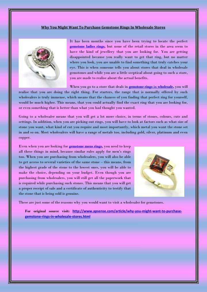 Why You Might Want To Purchase Gemstone Rings In Wholesale Stores