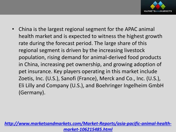 China is the largest regional segment for the APAC animal health market and is expected to witness the highest growth rate during the forecast period. The large share of this regional segment is driven by the increasing livestock population, rising demand for animal-derived food products in China, increasing pet ownership, and growing adoption of pet insurance. Key players operating in this market include Zoetis, Inc. (U.S.), Sanofi (France), Merck and Co., Inc. (U.S.), Eli Lilly and Company (U.S.), and