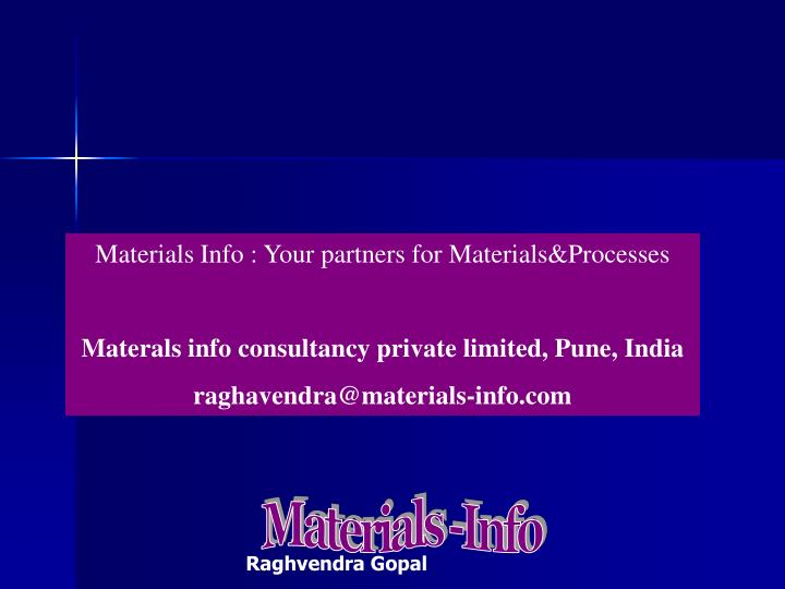 Materials Info : Your partners for Materials&Processes