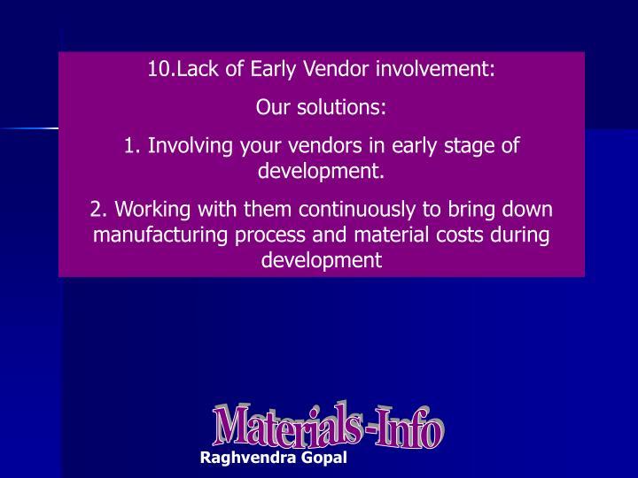 10.Lack of Early Vendor involvement: