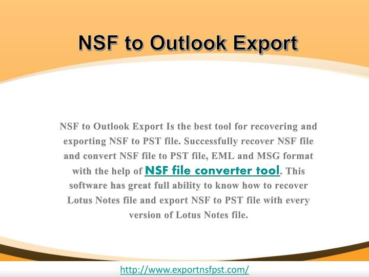 NSF to Outlook Export