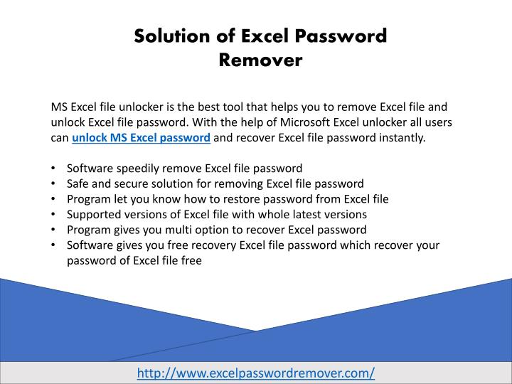 Solution of Excel Password Remover
