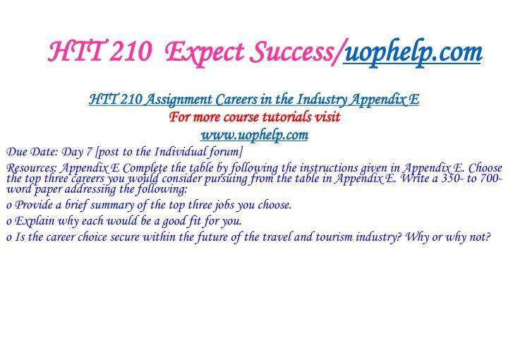 Htt 210 expect success uophelp com1