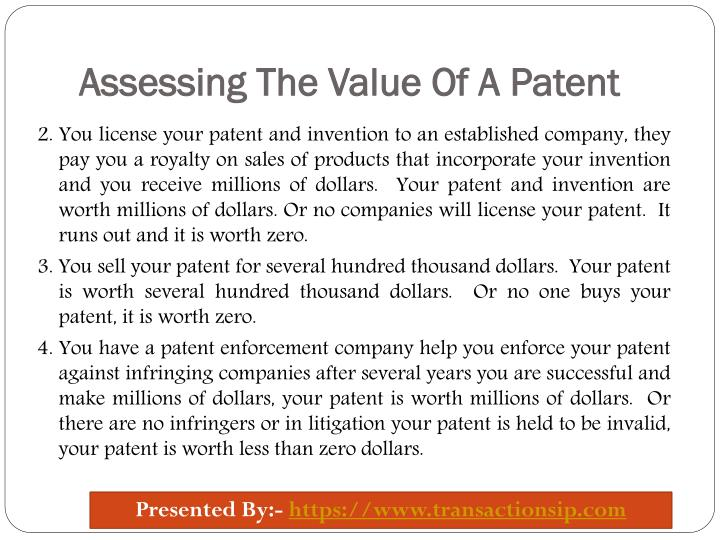 Assessing The Value Of A Patent
