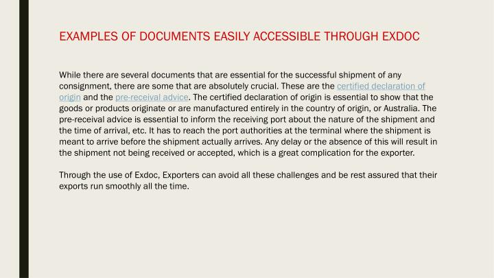 EXAMPLES OF DOCUMENTS EASILY ACCESSIBLE THROUGH EXDOC