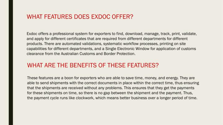 What features does exdoc offer