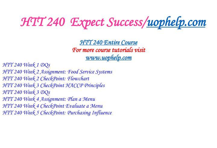 Htt 240 expect success uophelp com1
