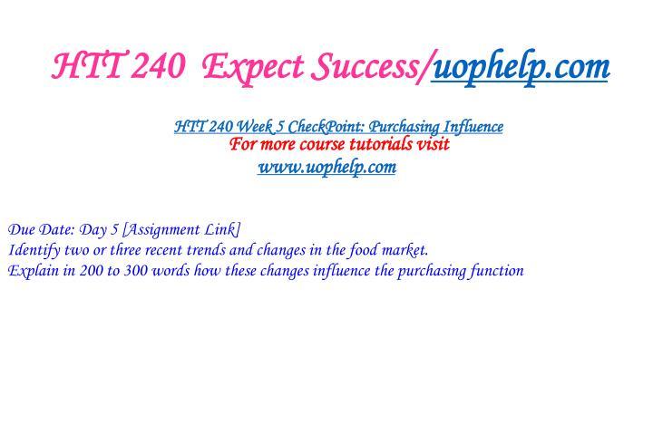HTT 240  Expect Success/