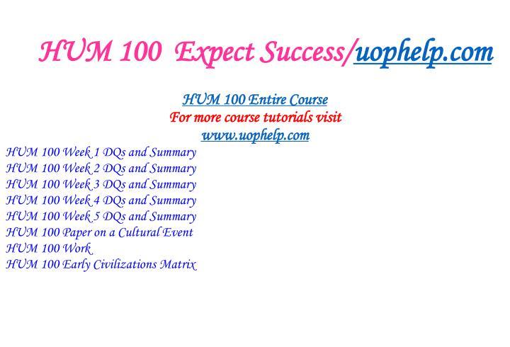 Hum 100 expect success uophelp com1