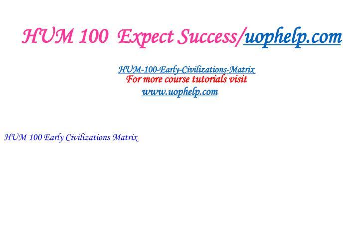 HUM 100  Expect Success/