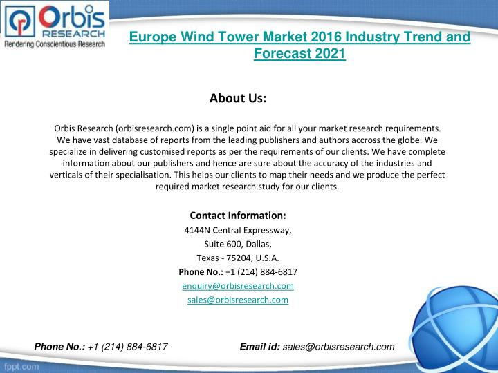 Europe wind tower market 2016 industry trend and forecast 20212