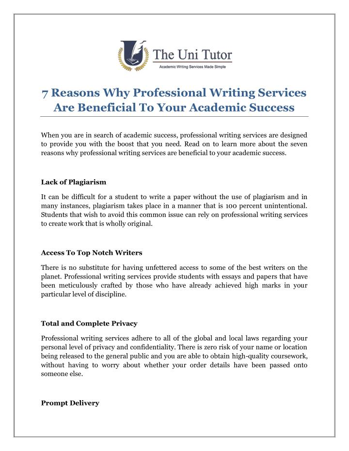 7 Reasons Why Professional Writing Services