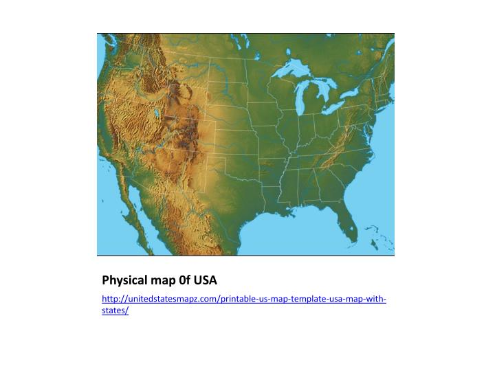 Physical map 0f USA